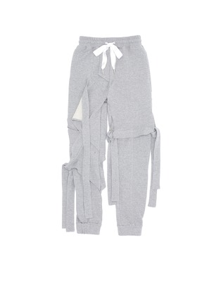 Main View - Click To Enlarge - NICOPANDA - Satin ribbon tie deconstructed sweatpants
