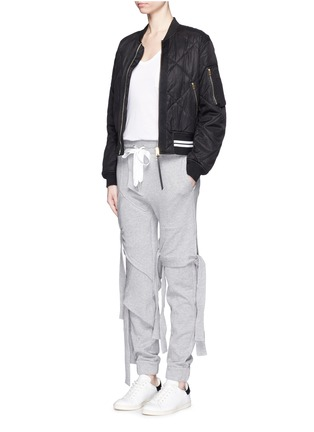 Figure View - Click To Enlarge - NICOPANDA - Satin ribbon tie deconstructed sweatpants