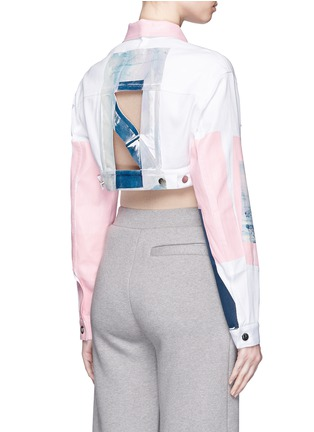 Back View - Click To Enlarge - NICOPANDA - Paint patchwork cropped denim jacket