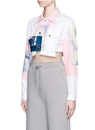 Front View - Click To Enlarge - NICOPANDA - Paint patchwork cropped denim jacket