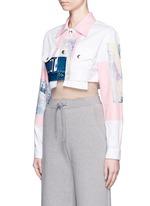 Paint patchwork cropped denim jacket