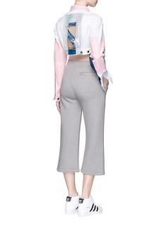 NICOPANDAPaint patchwork cropped denim jacket