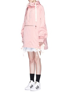NICOPANDA Packable satin ribbon tie oversize parka