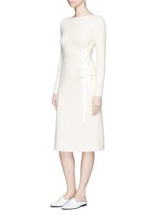 MO&CO. EDITION 10Lace-up waist knit bateau neck dress