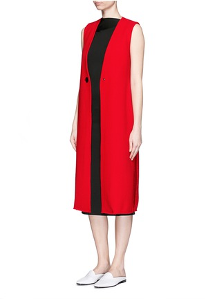 Figure View - Click To Enlarge - MO&CO. EDITION 10 - Textured wool long vest coat