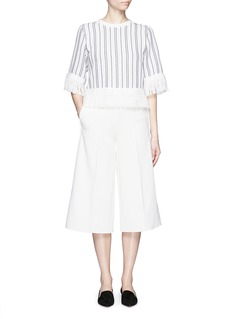 MO&CO. EDITION 10 Stripe eyelet lattice cropped top