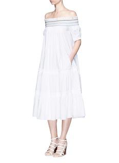 PETER PILOTTO'Petra' off-shoulder embroidered poplin smock dress