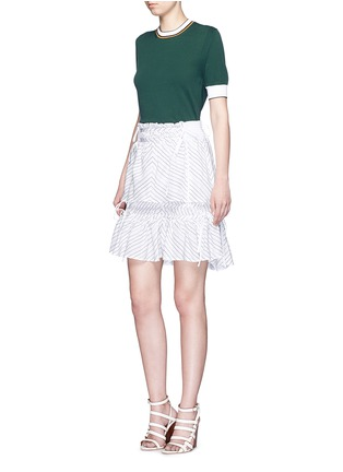 Figure View - Click To Enlarge - Peter Pilotto - 'Pull' chevron stripe drawstring tiered skirt