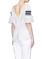 'Sky' variegated stripe drawstring cotton-silk blouse