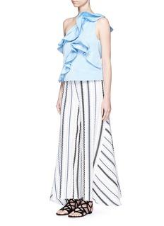 PETER PILOTTO'Latmos' stripe silk-blend cloqué culottes