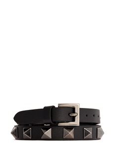 VALENTINO 'Rockstud Noir' double wrap leather bracelet