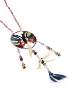 Butterfly feather bead necklace