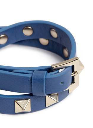Detail View - Click To Enlarge - Valentino - 'Rockstud' double wrap leather bracelet