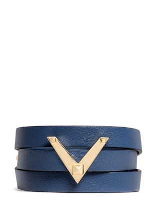 Main View - Click To Enlarge - Valentino - 'V Rockstud' triple wrap leather bracelet