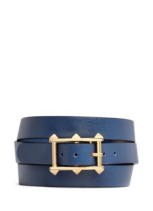 Figure View - Click To Enlarge - Valentino - 'V Rockstud' triple wrap leather bracelet