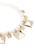 'Rockstud' glass pearl necklace