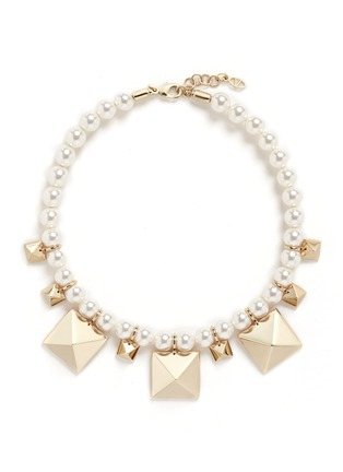 Valentino - 'Rockstud' glass pearl necklace