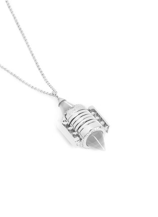 Detail View - Click To Enlarge - Eddie Borgo - Bicone crystal pavé agate locket necklace