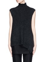 Frayed edge wool blend sleeveless sweater