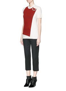 3.1 PHILLIP LIMCloqué check panel wool T-shirt