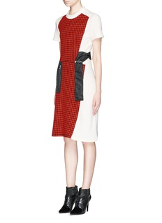 3.1 PHILLIP LIMCloqué check panel waist tie wool dress