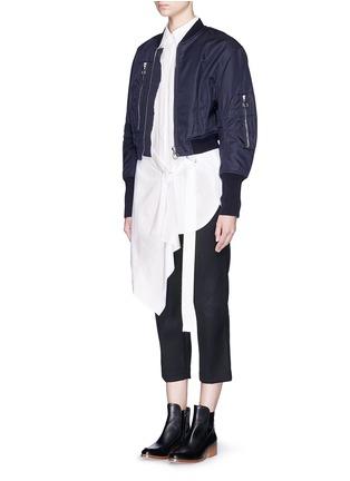 模特儿示范图 - 点击放大 - 3.1 PHILLIP LIM - 裙摆式层次拼贴混棉衬衫