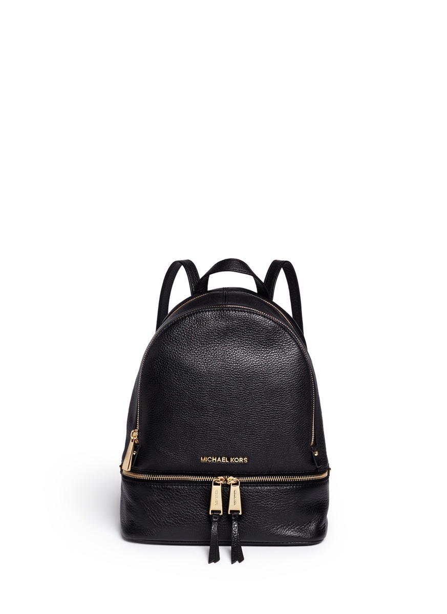 michael kors female rhea small 18k gold plated leather backpack