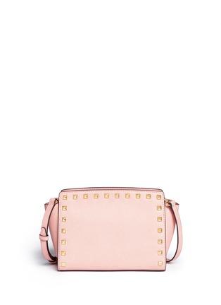 Back View - Click To Enlarge - Michael Kors - 'Selma' medium stud saffiano leather messenger bag
