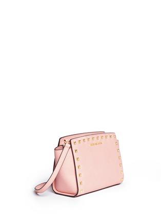 Front View - Click To Enlarge - Michael Kors - 'Selma' medium stud saffiano leather messenger bag