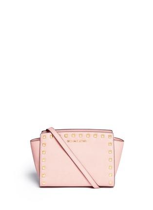 Main View - Click To Enlarge - Michael Kors - 'Selma' medium stud saffiano leather messenger bag
