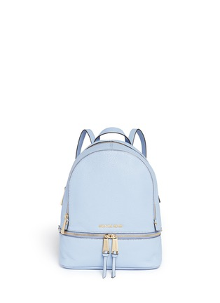 Main View - Click To Enlarge - Michael Kors - 'Rhea' small 18k gold plated leather backpack