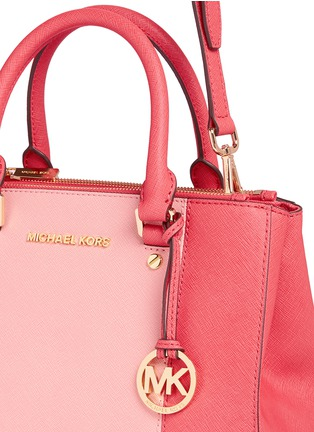 Detail View - Click To Enlarge - Michael Kors - 'Sutton' small 18k gold plated centre stripe leather satchel