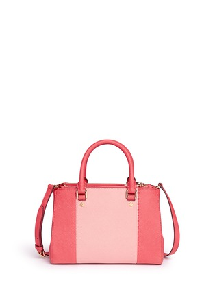 Back View - Click To Enlarge - Michael Kors - 'Sutton' small 18k gold plated centre stripe leather satchel