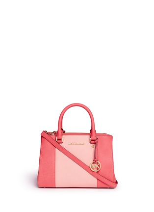 Main View - Click To Enlarge - Michael Kors - 'Sutton' small 18k gold plated centre stripe leather satchel