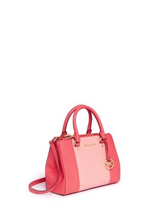 Figure View - Click To Enlarge - Michael Kors - 'Sutton' small 18k gold plated centre stripe leather satchel
