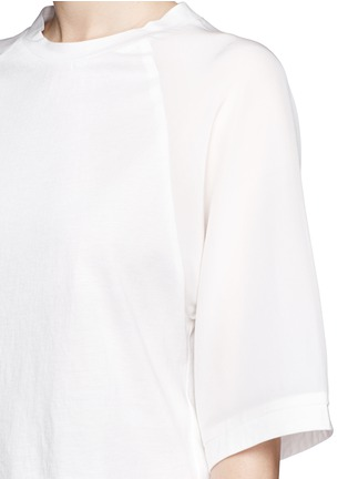 Detail View - Click To Enlarge - 3.1 Phillip Lim - Silk sleeve jersey baseball T-shirt