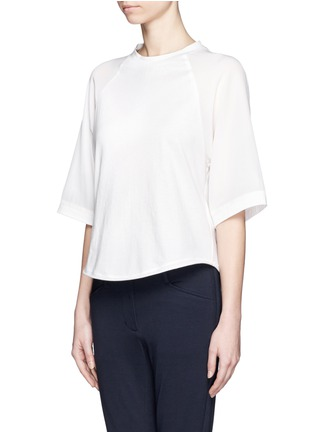 Front View - Click To Enlarge - 3.1 Phillip Lim - Silk sleeve jersey baseball T-shirt