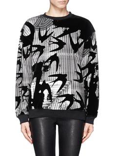 MCQ ALEXANDER MCQUEENSwallow velvet flock stripe sweatshirt