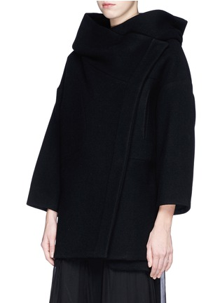 Front View - Click To Enlarge - Chloé - Oversized wool blend hood coat