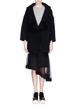 Figure View - Click To Enlarge - Chloé - Oversized wool blend hood coat