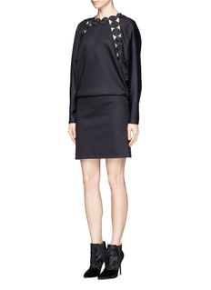 CHLOÉCut out embroidery trim wool dress