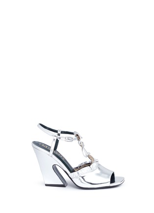 Main View - Click To Enlarge - Mulberry - Ruffle mirror leather sandals