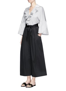 Tome Contrast cotton piqué oversized ruffle shirt