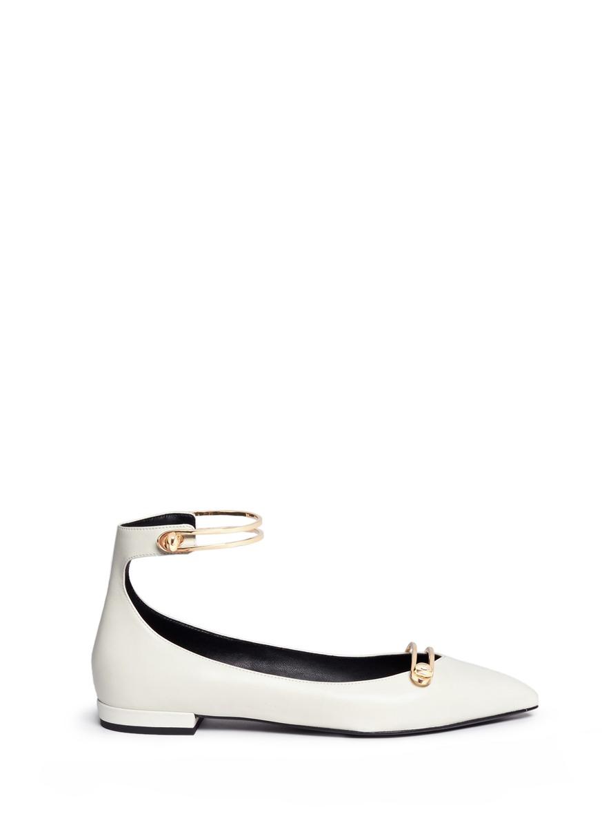 Stella turnlock bar ankle strap leather flats by Stella Luna