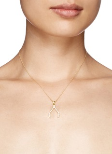 Khai Khai 'Wishbone' diamond pendant necklace