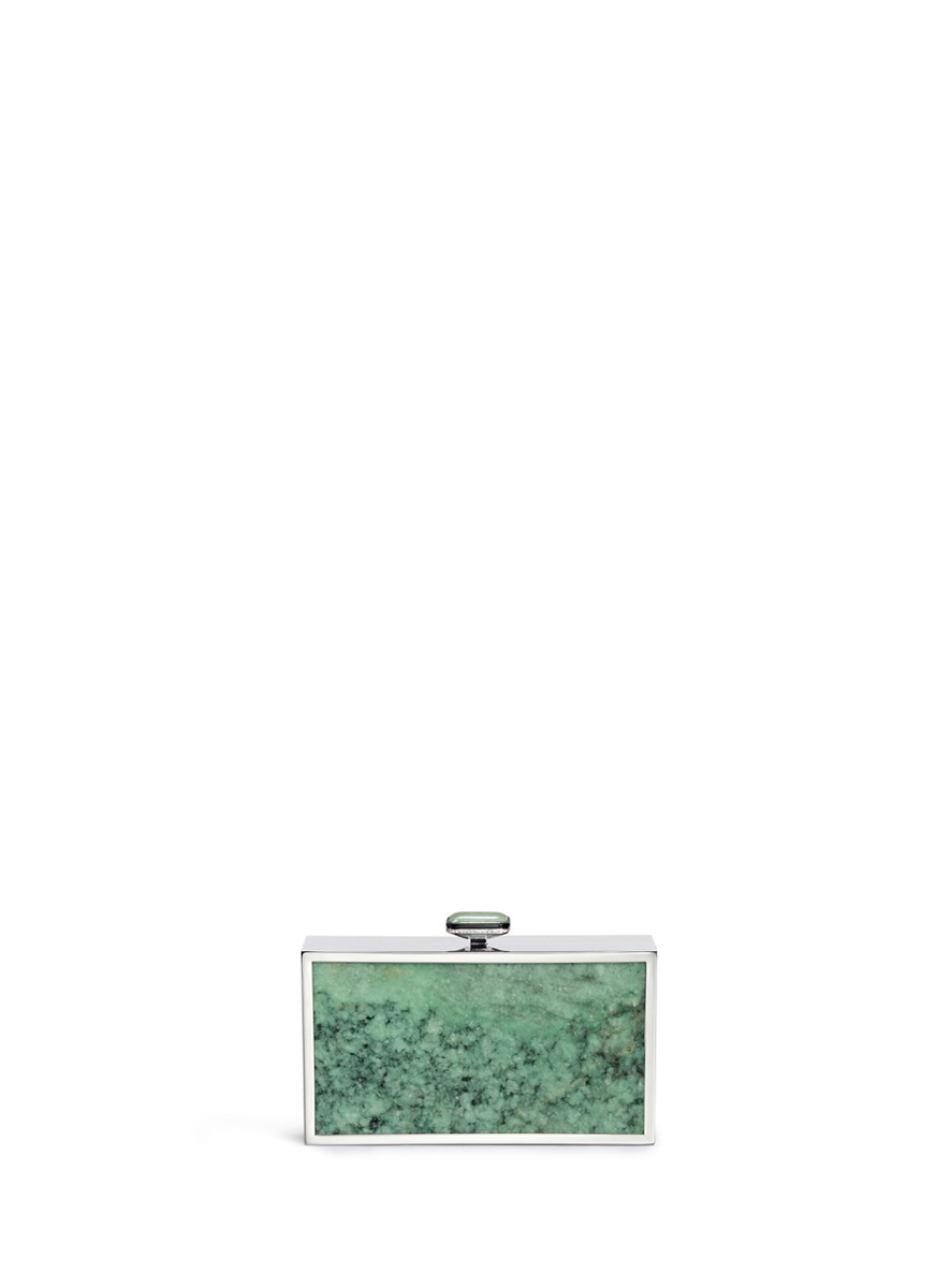 Diamond 18k white gold natural green jade clutch by Edward Chiu
