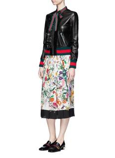 Gucci Floral snake print silk skirt