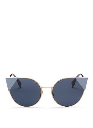 Main View - Click To Enlarge - Fendi - 'Lei' flat metal cat eye sunglasses