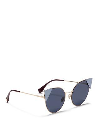 Figure View - Click To Enlarge - Fendi - 'Lei' flat metal cat eye sunglasses