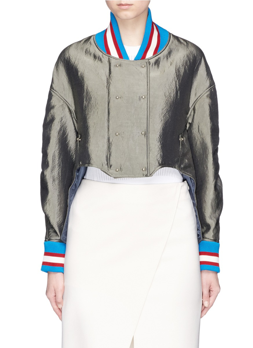 Sport stripe padded satin bomber jacket by Esteban Cortazar